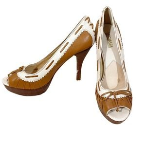 Michael Kors Platform Spectator Leather Heels 8.5